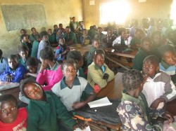 A class with more than 70 pupils at Choma Airport Community School