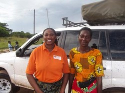 Left is Response Network programme officer with a community volunteer