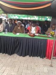From left to right, outgoing Mayor Mr. Aggrey Njekwa, Chief Mukuni of the toka leya, New Mayor Mr. Milford Maambo and Southern province Minister Honourable Daniel Munkombwe