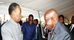 (Left to Right) Republican president Mr Micheal Chilufya Sata with Republican first president Dr. Kenneth David Kaunda