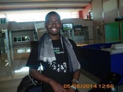 Oscar Matongo upon arrival at Harry Mwaanga Nkumbula International Airport in Livingstone, Zambia